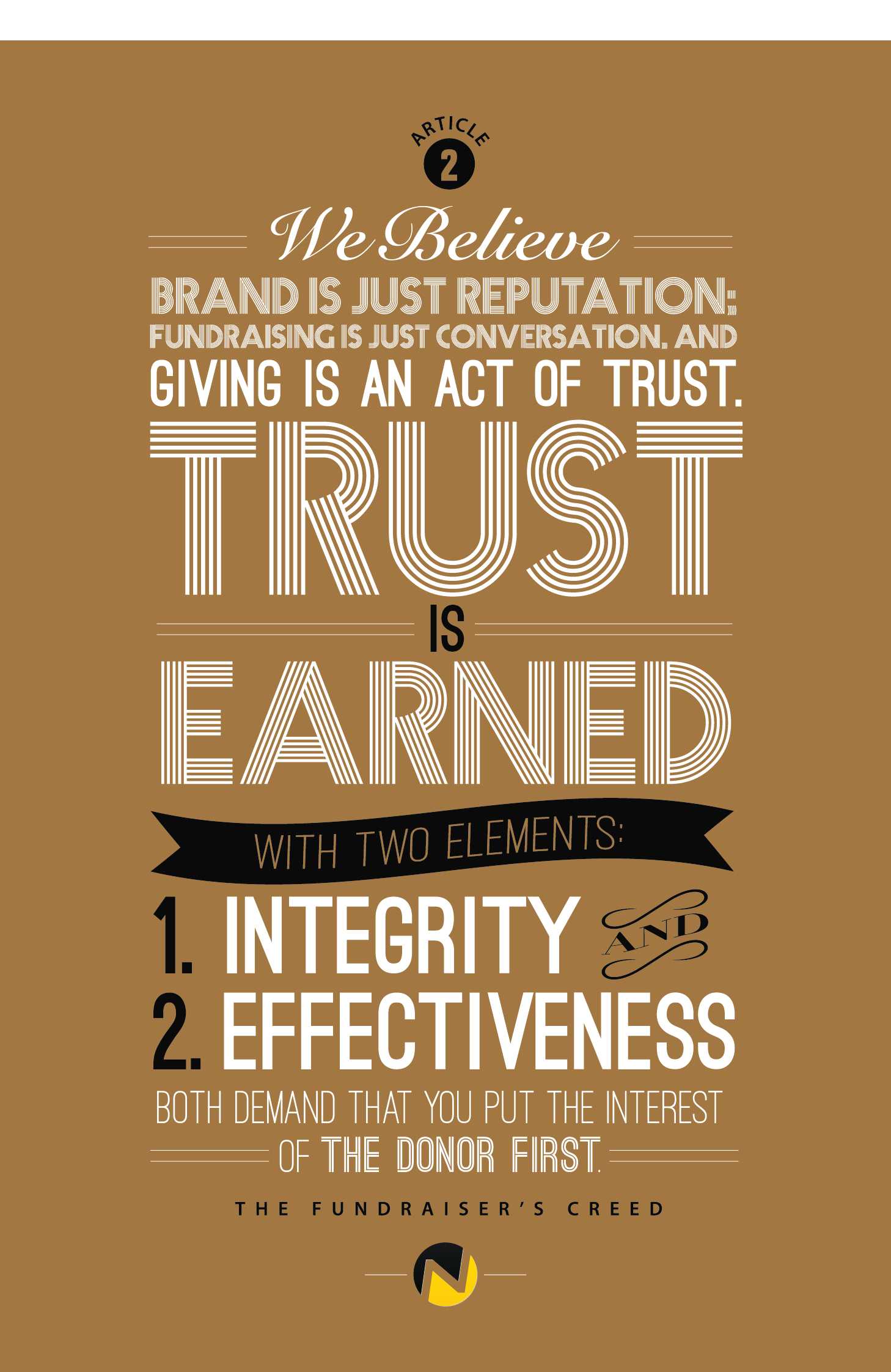 Fundraiser's Creed - Article 2 - Giving Is An Act of Trust